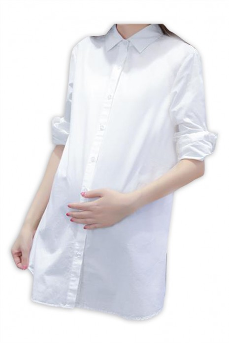 SKUFPW019 大量訂製工作襯衫孕婦裝  設計長袖長款孕婦裝  孕婦裝供應商