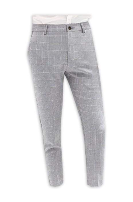 SP001  設計男七分西褲  薄款髮型師   修身黑色格子小脚西裝褲   潮流八分休閒褲