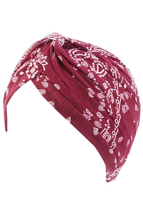 大量訂製瑜伽包頭帽  時尚設計碎花褶皺防風月子帽 無邊帽供應商 SKBSC005