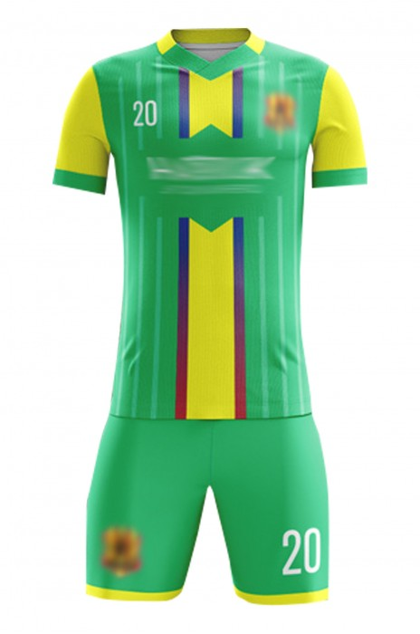 訂購足球比賽運動套裝  設計撞色V領DIY印花足球服 足球套裝中心 FJ007