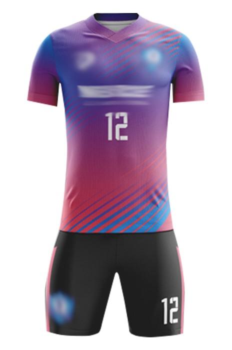 訂造團隊足球服套裝  設計短袖吸濕排汗撞色印花足球服 足球套裝供應商 FJ008