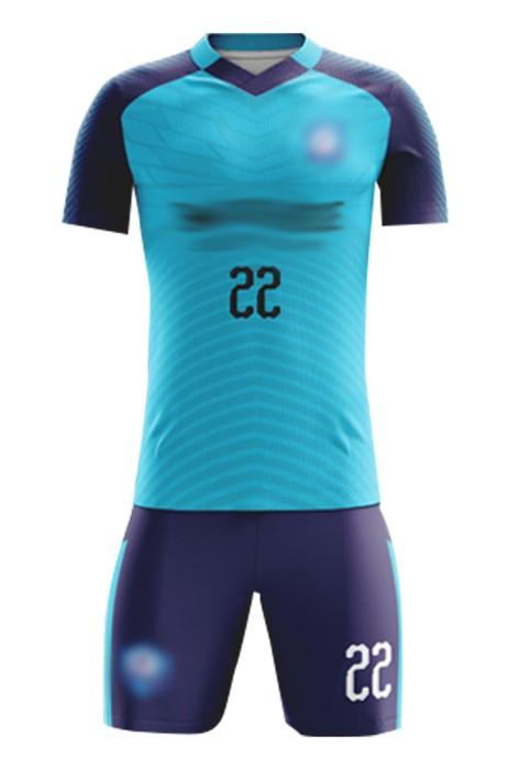 網上下單訂製教练团足球度  自訂撞色牛角袖V領印花足球服 足球套裝專門店 FJ010
