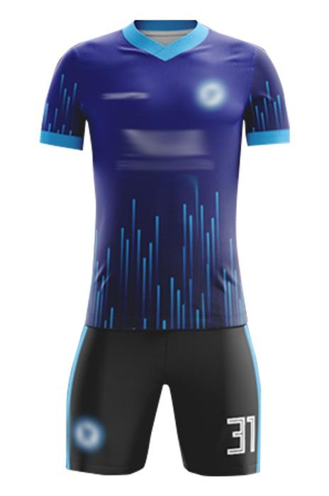 訂製團隊足球服  設計V領撞色袖吸濕排汗足球服套裝足球供應商 FJ013