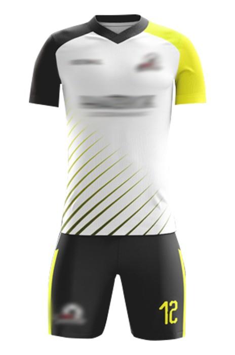 大量訂製美式足球服套裝 設計撞色袖V領間條短褲足球服 足球服套裝製衣廠  FJ015
