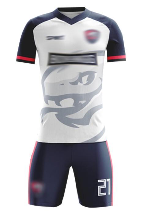 製造比賽足球服 設計V領整件LOGO吸濕排乾足球服套裝 足球服套裝中心  FJ017