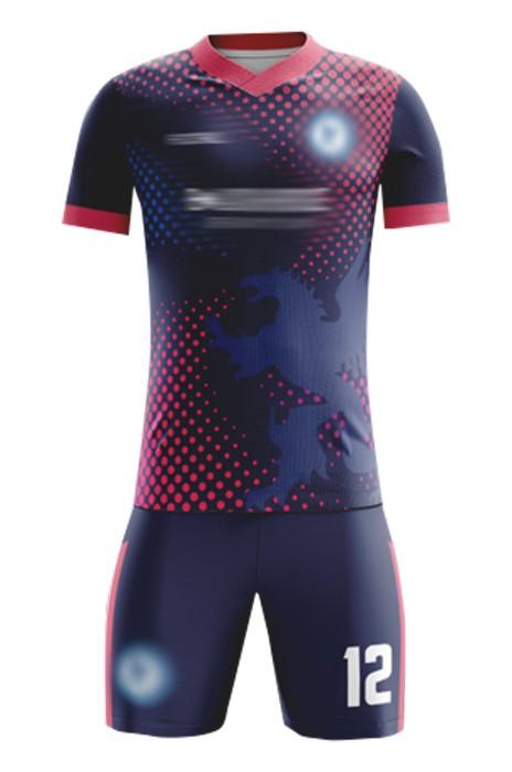製造球隊足球服  自訂熱升華LOGO 領短袖足球服足球服套裝中心 FJ019