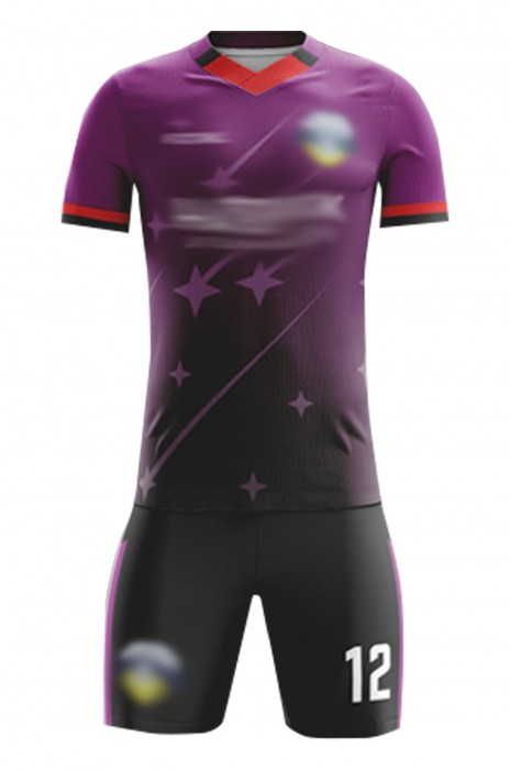 訂造比賽運動足球服  設計V領漸變色整件印LOGO足球服套裝 足球服中心  FJ021