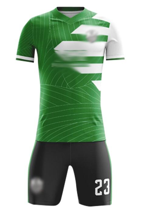 製造俱樂部足球服套裝  設計V領綠色撞色袖足球服 足球服套裝供應商 FJ023