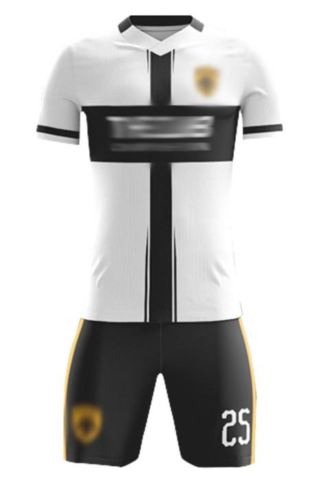 訂製球員足球服  自訂V領撞色吸濕排汗足球服套裝足球服供應商 FJ025