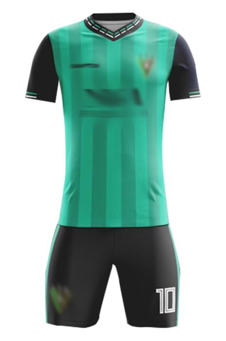 訂製團體足球套裝服  時尚設計間條綠色撞色領短袖足球服 足球套裝供應商 FJ029