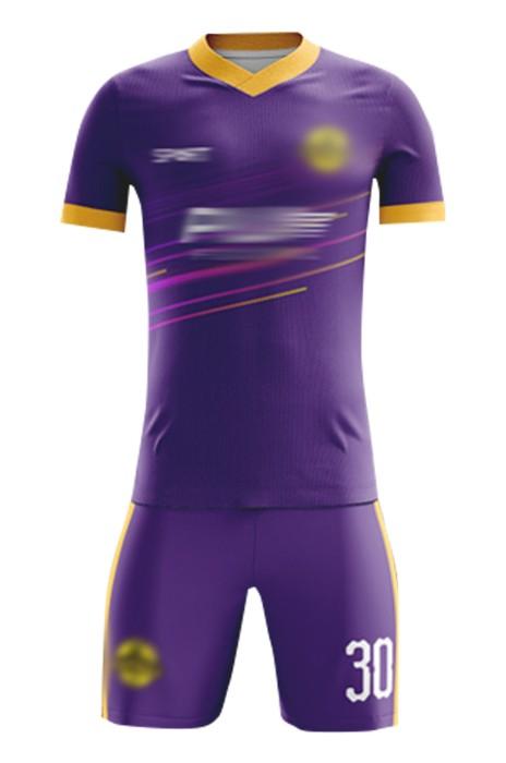 網上下單訂製比賽足球服 時尚設計紫色V領撞色袖足球服 足球服套裝中心 FJ030