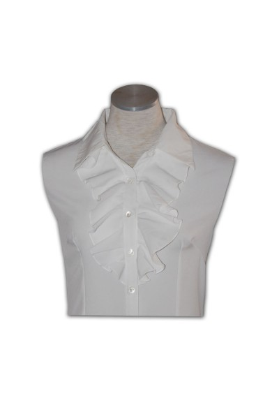 R109款_訂造女裝襯衫訂製酒店制服蝴蝶結碎花領結壓摺胸閘訂購