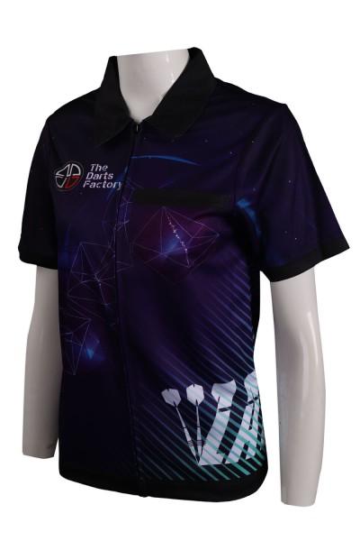 Design Sublimation Polo Shirt Open Chest Zipper Style THR