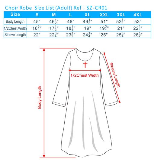 Coir Robe Size List(Adult)
