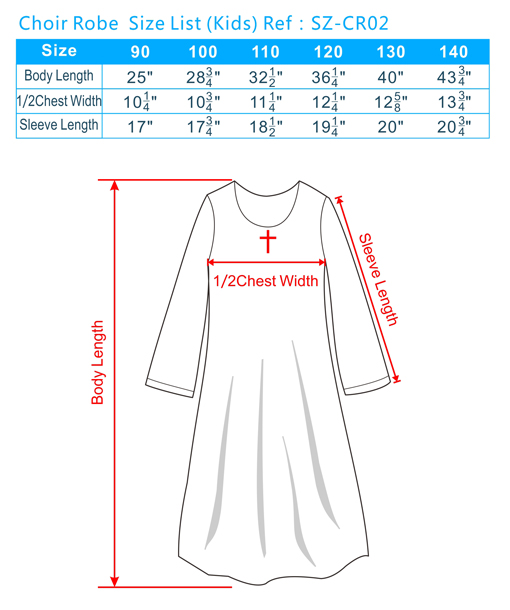 Choir Robe Size List(Kids)