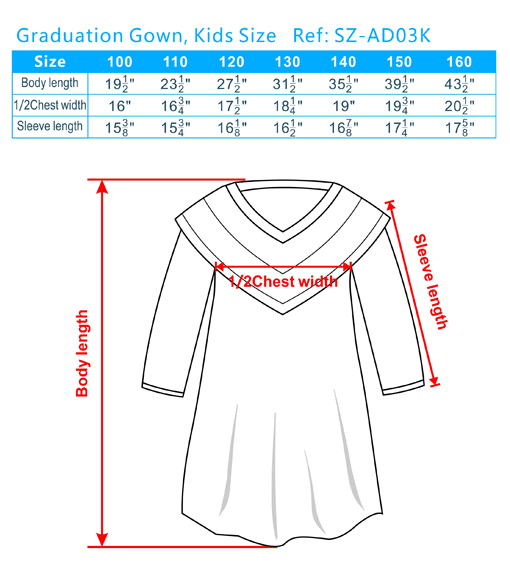 graduation gown size guide, college graduation gown sizes, choir ...