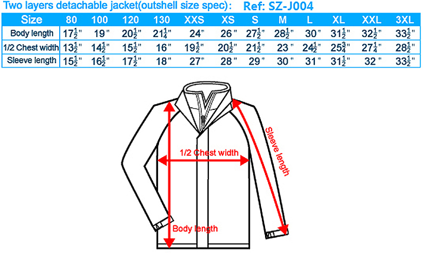 Two layers detachable jacket(outshell size spec)