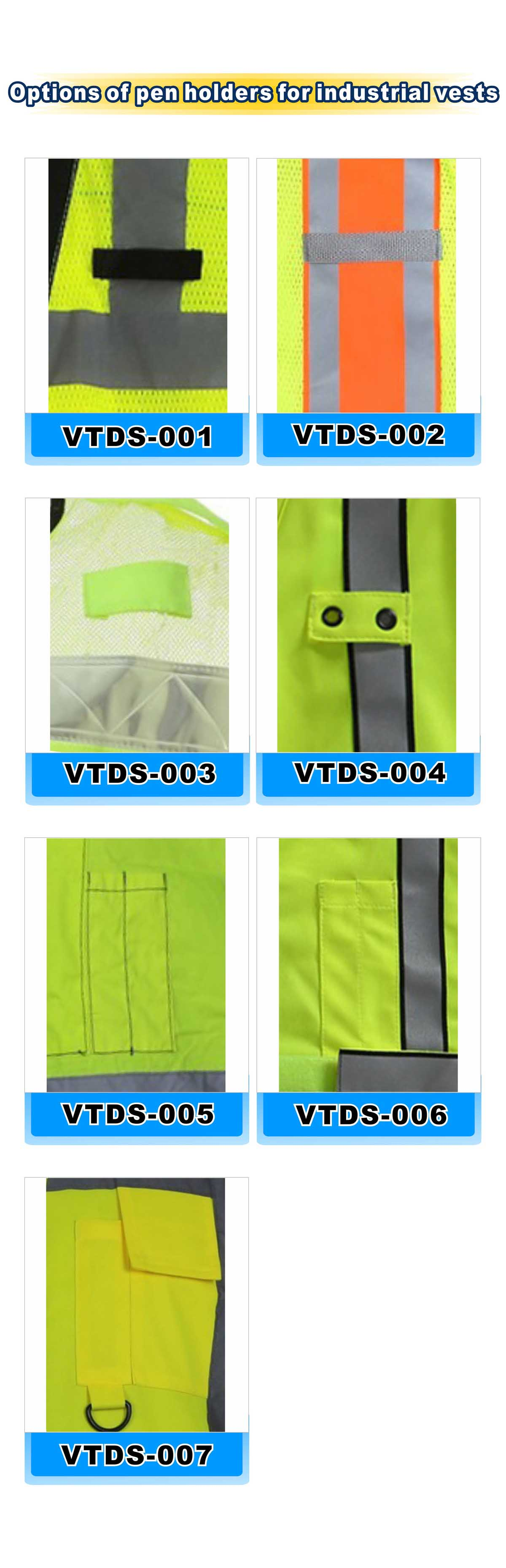 Option of pen holders for industrial vests