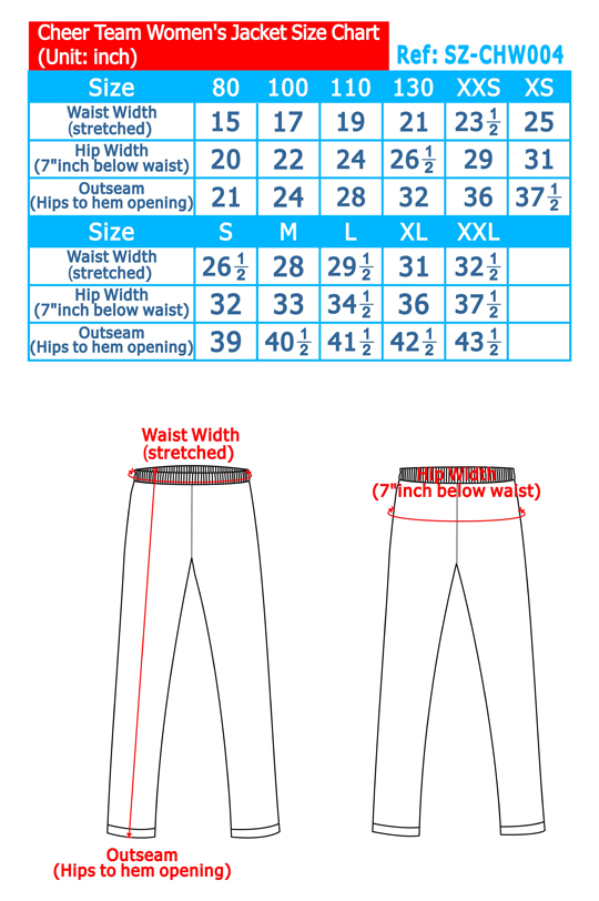Cheer Team Women's Jacket Size Chart
