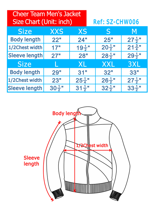 Cheer Team Men's Jacket Size Chart
