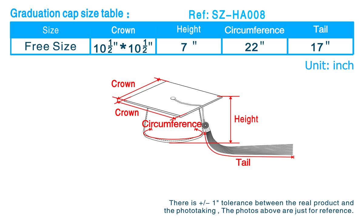 Graduation cap size table