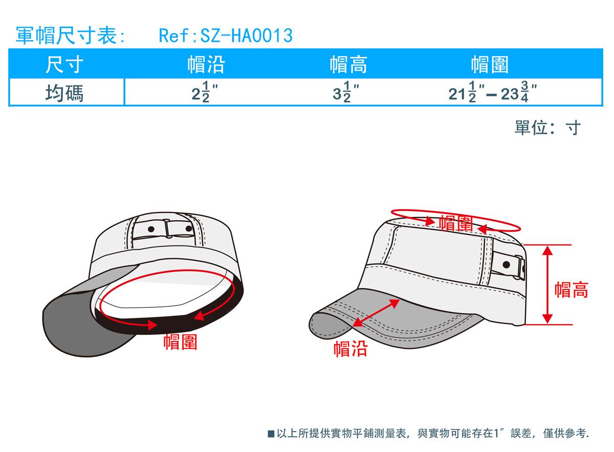 軍帽尺寸表
