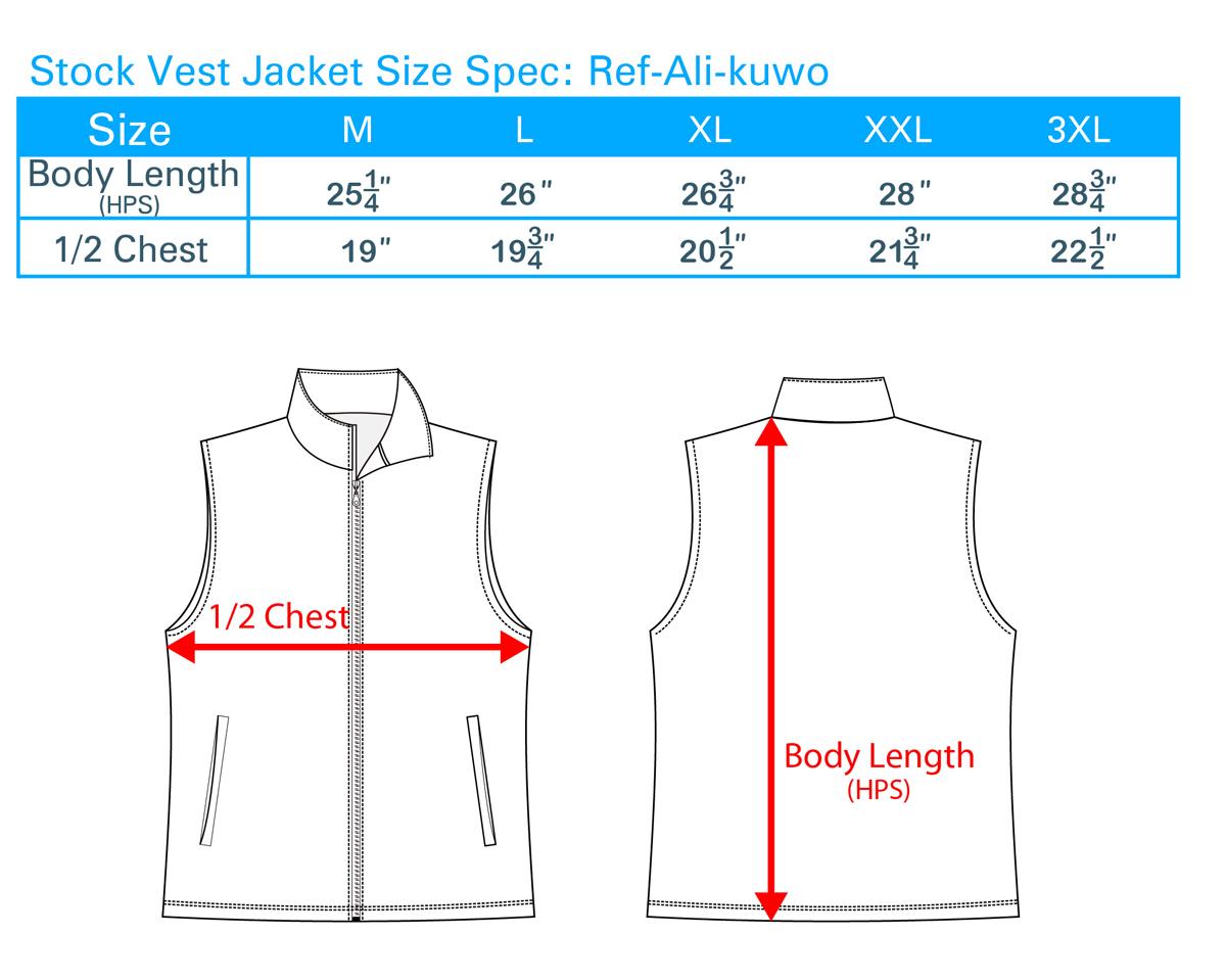 Stock Vest Jacket Size Spec Ali-kuwo