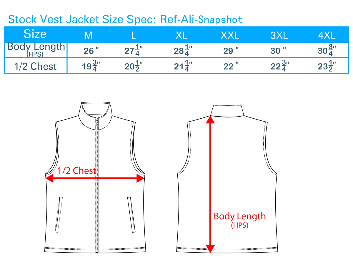 Stock Vest Jacket Size Spec Ail-Snapshot