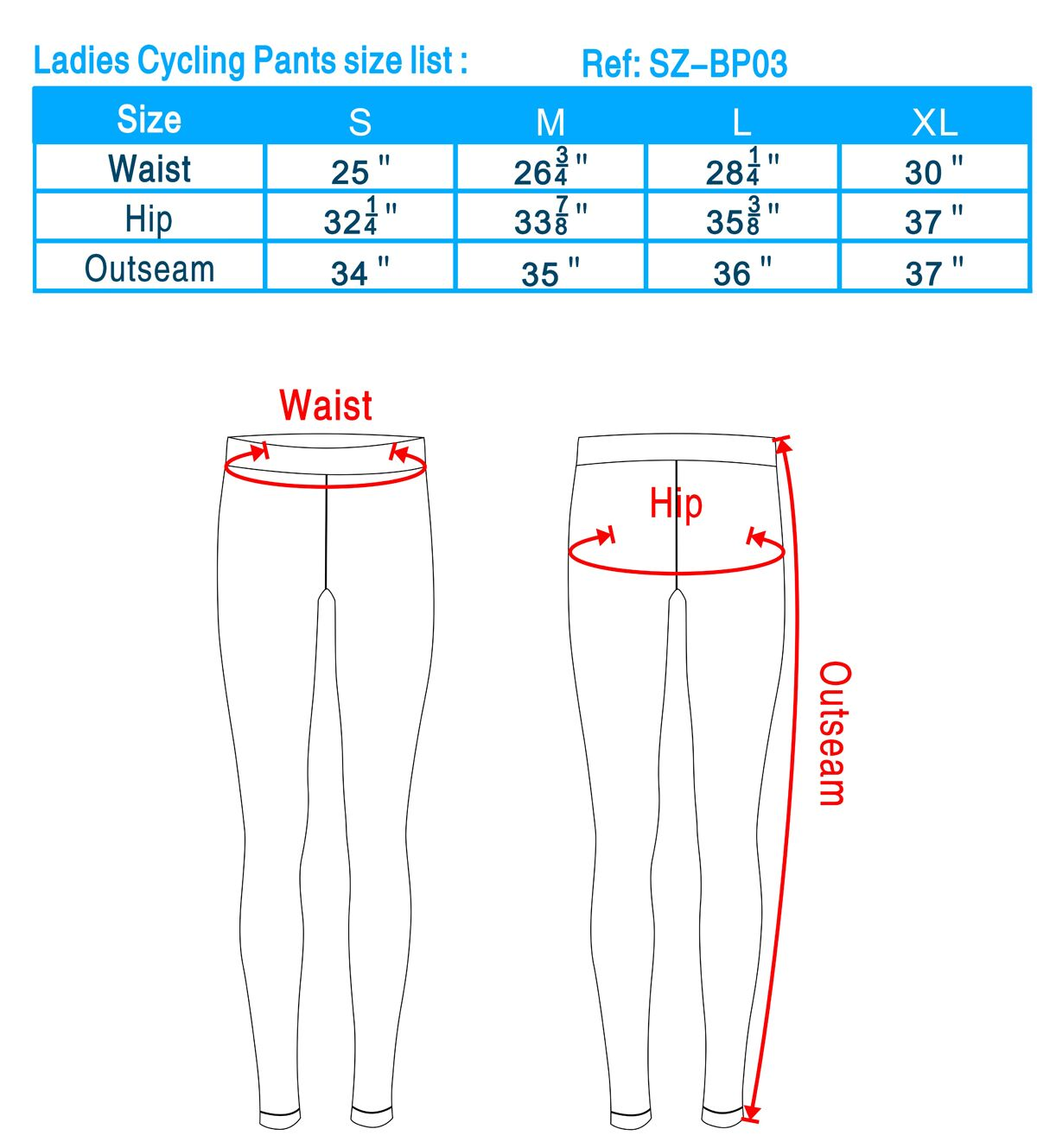 Ladies Cycling Pants size list