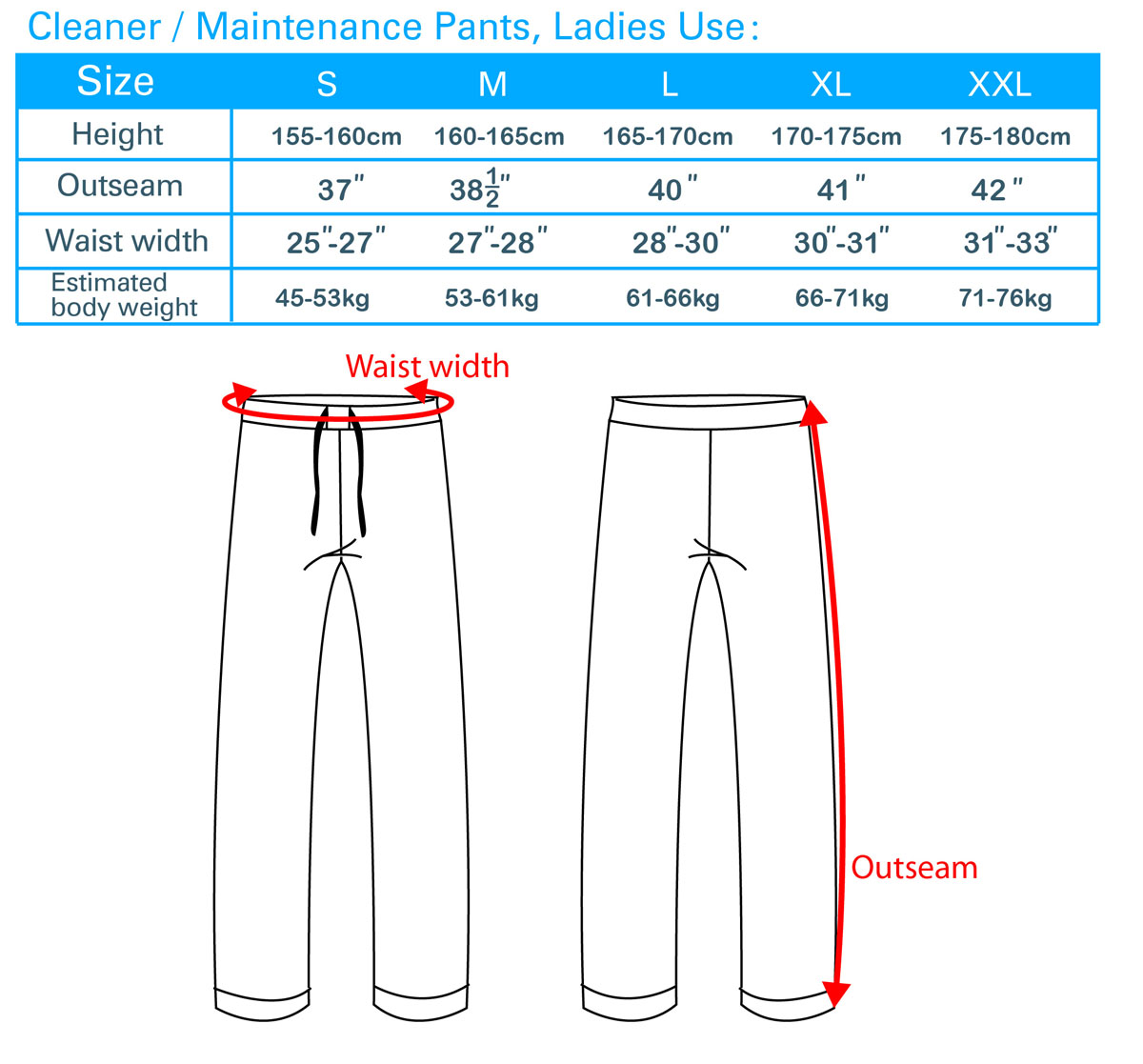 Cleaner/Maintenance ,Pants Ladies Use