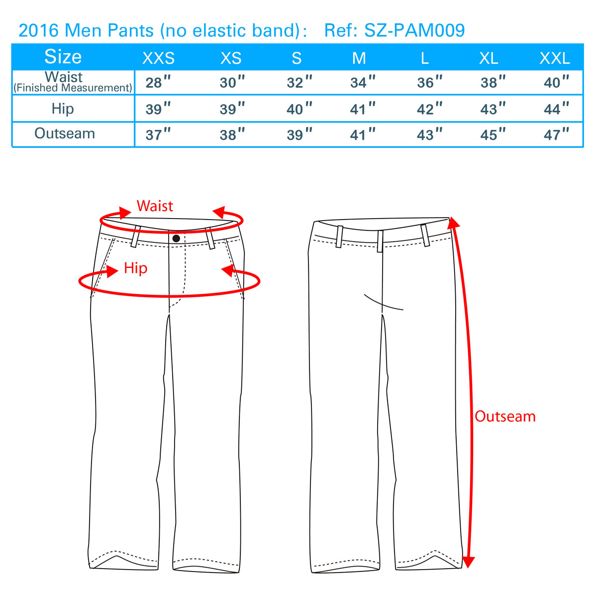 2016 Men Pants(no elastic band)