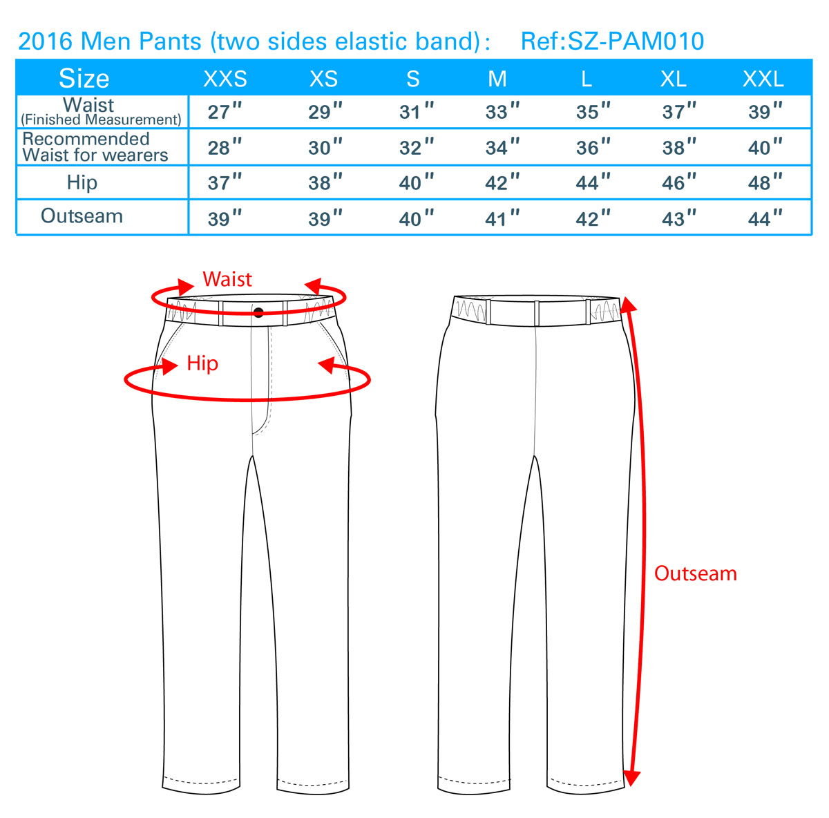 2016 Men Pants(two sides elastic band)