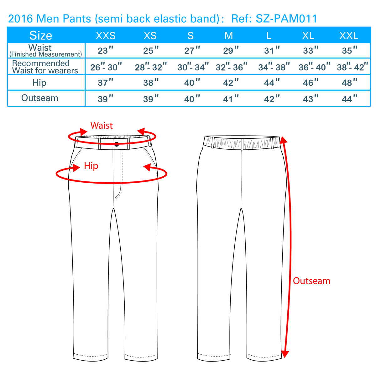 2016 Men Pants (semi back elastic band)