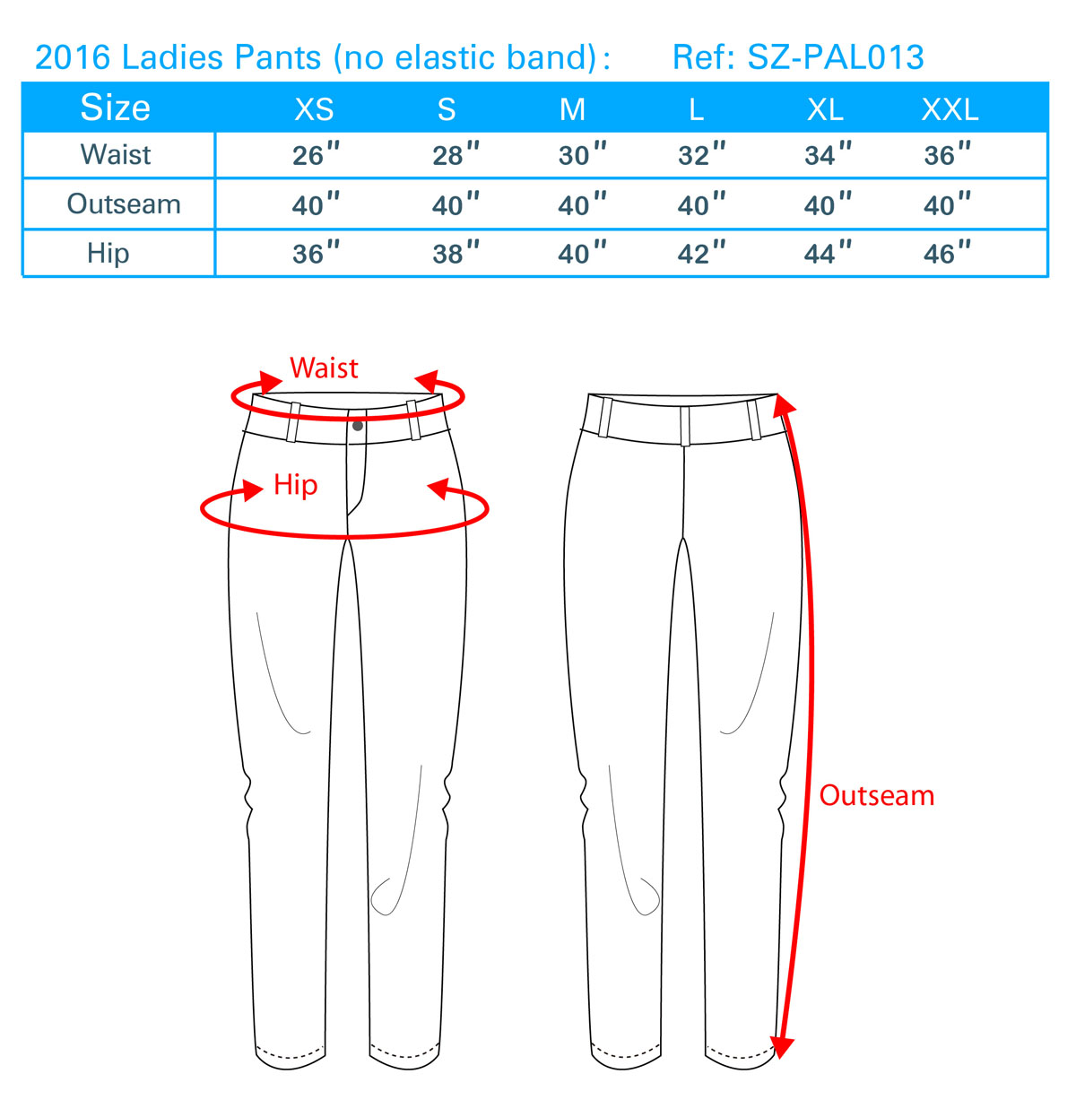 2016 Ladies Pants (no elastic band)