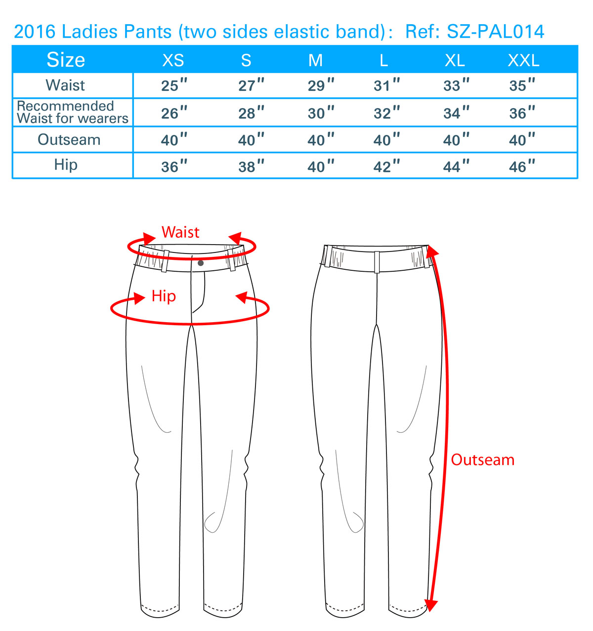 2016 Ladies Pants (two sides elastic band)