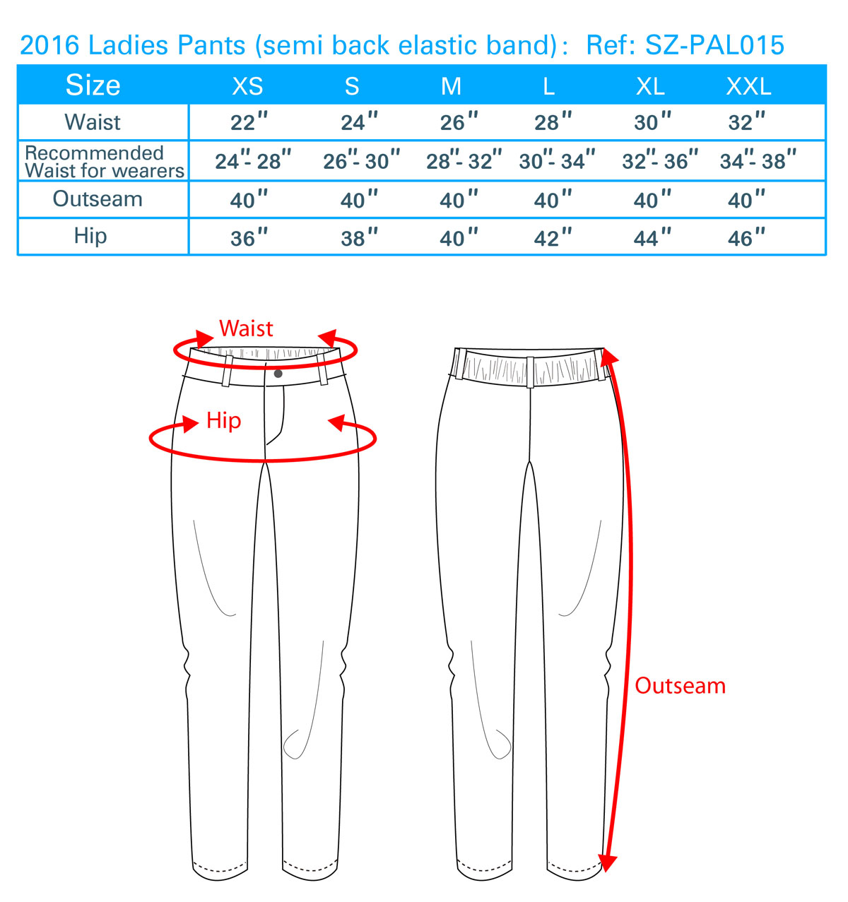 2016 Ladies Pants (semi back elastic band)