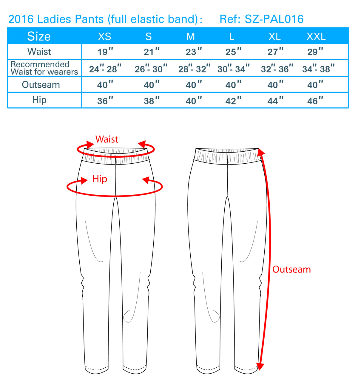 2016 Ladies Pants (full elastic band)