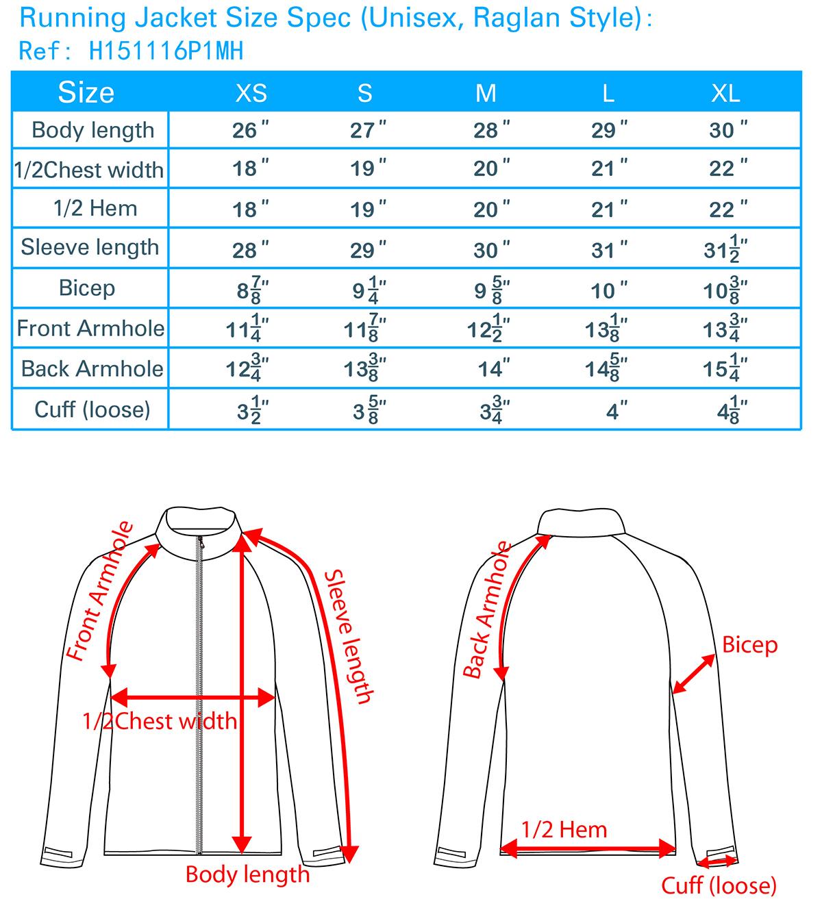 Running Jacket Size Spec(Unisex,Raglan Style)