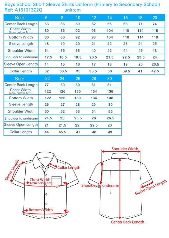 Boys School Short Sleeve Shirt Unifrom(Primary to Secondary School)
