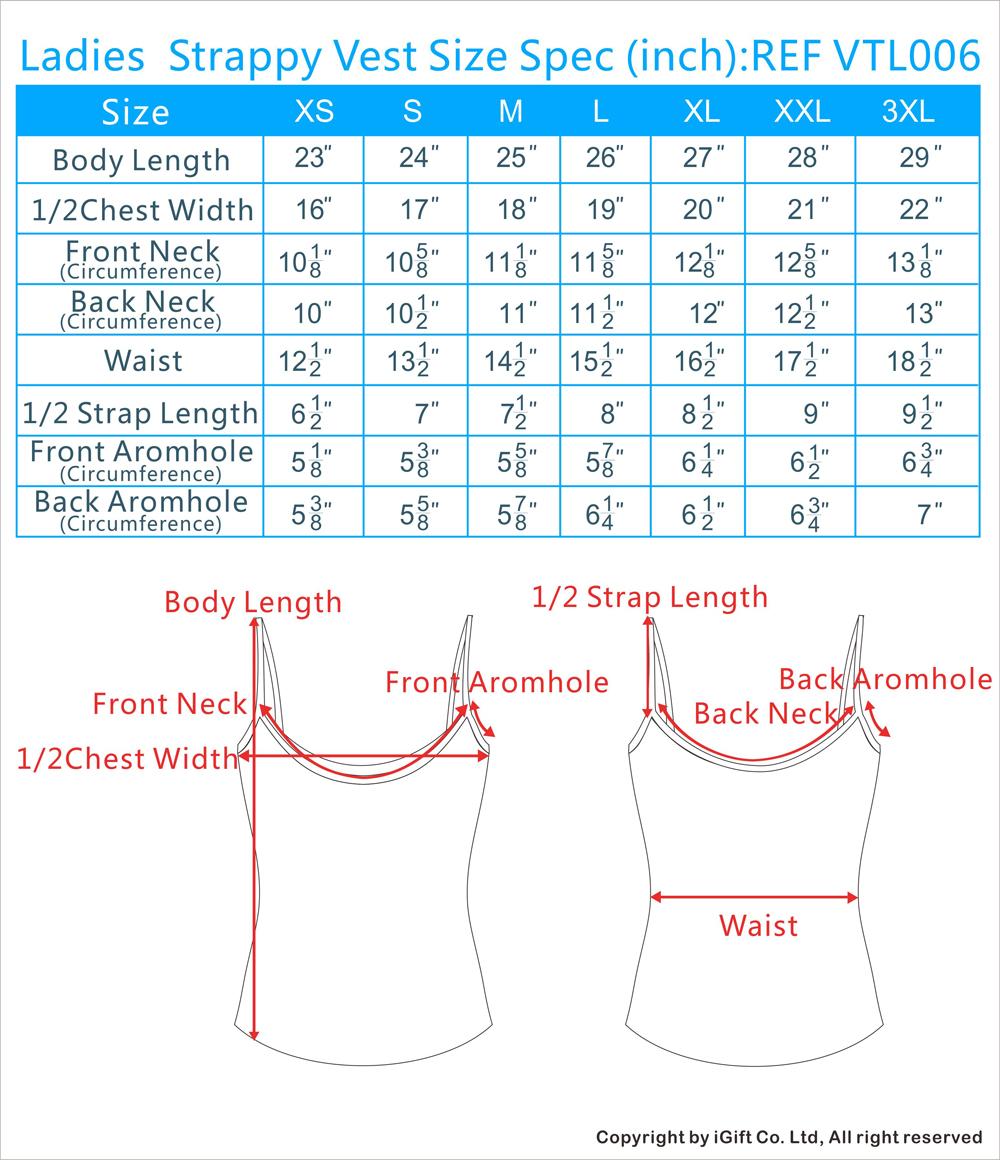 Sling Vest Size Chart(inch)