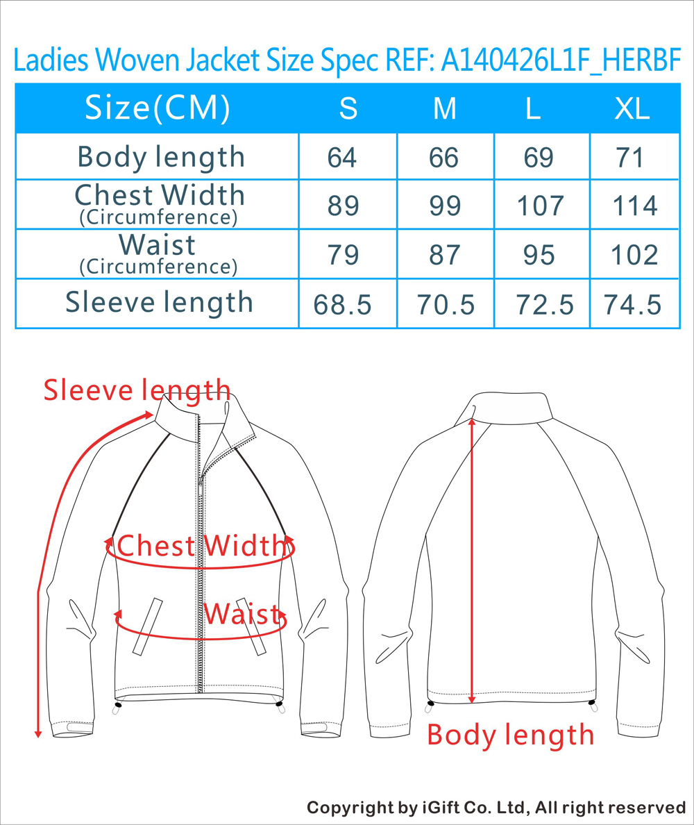 Ladies Woven Jacket Size Spec REF