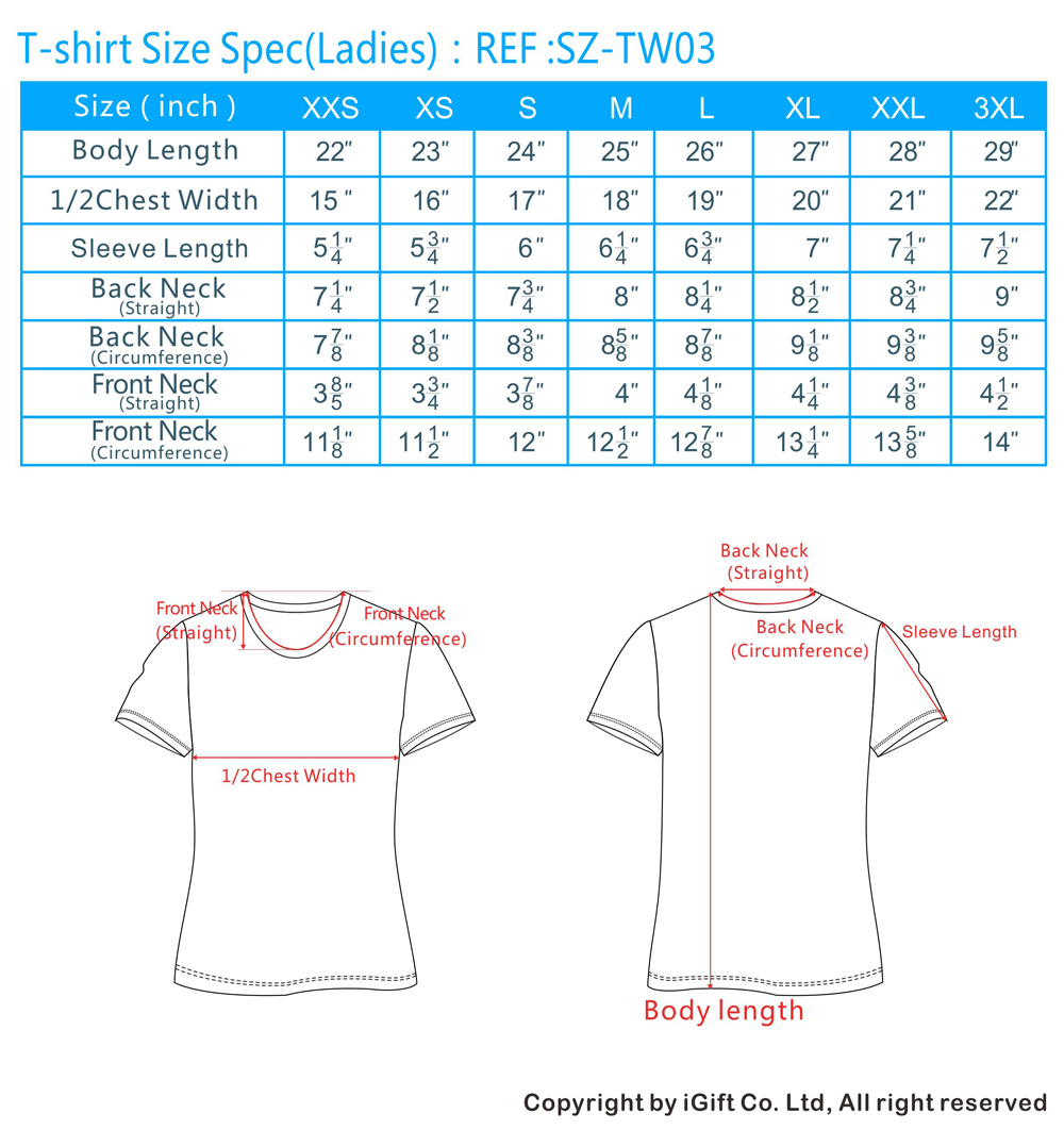 Standard T Shirt Dimension And Placement Chart: T-Shirt Size Chart