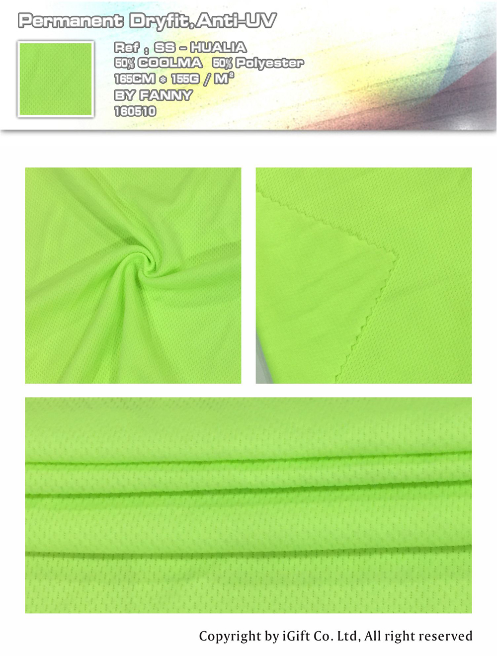 Permanent Dryfit,Anit-UV  Ref:SS-HUALIA    50% COOLMA   50%Polyester    165CM*155G/M²   BY  FANNY   160510