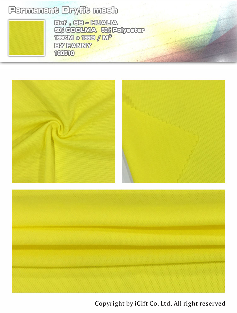 Permantne Dryfit mesh  Ref:SS-HUALIA    50% COOLMA   50%Polyester    165CM*155G/M²   BY  FANNY   160510