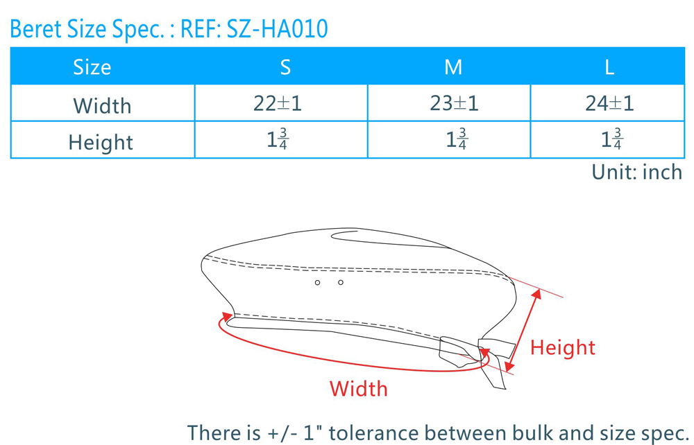 Cap Size Chart Singapore