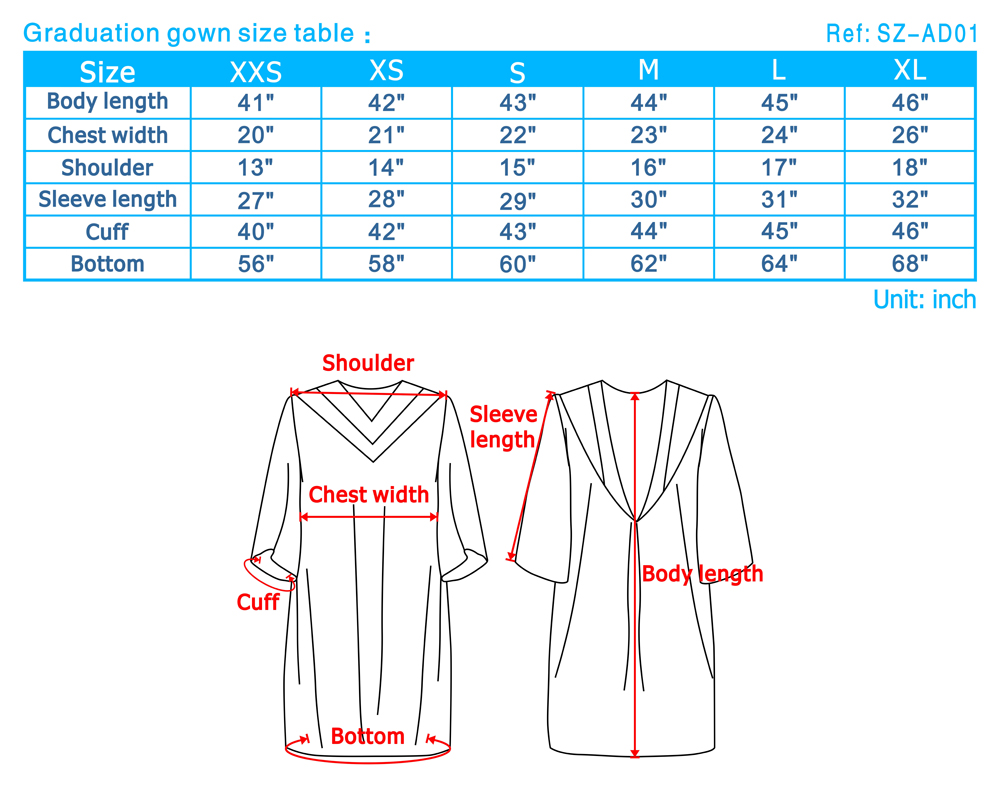 Graduation Gown Size Guide College Graduation Gown Sizes