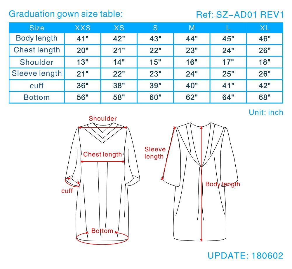 graduation gown size guide, college graduation gown sizes, choir ...