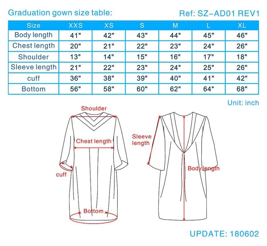 Graduation Gown Size Guide College Graduation Gown Sizes Choir