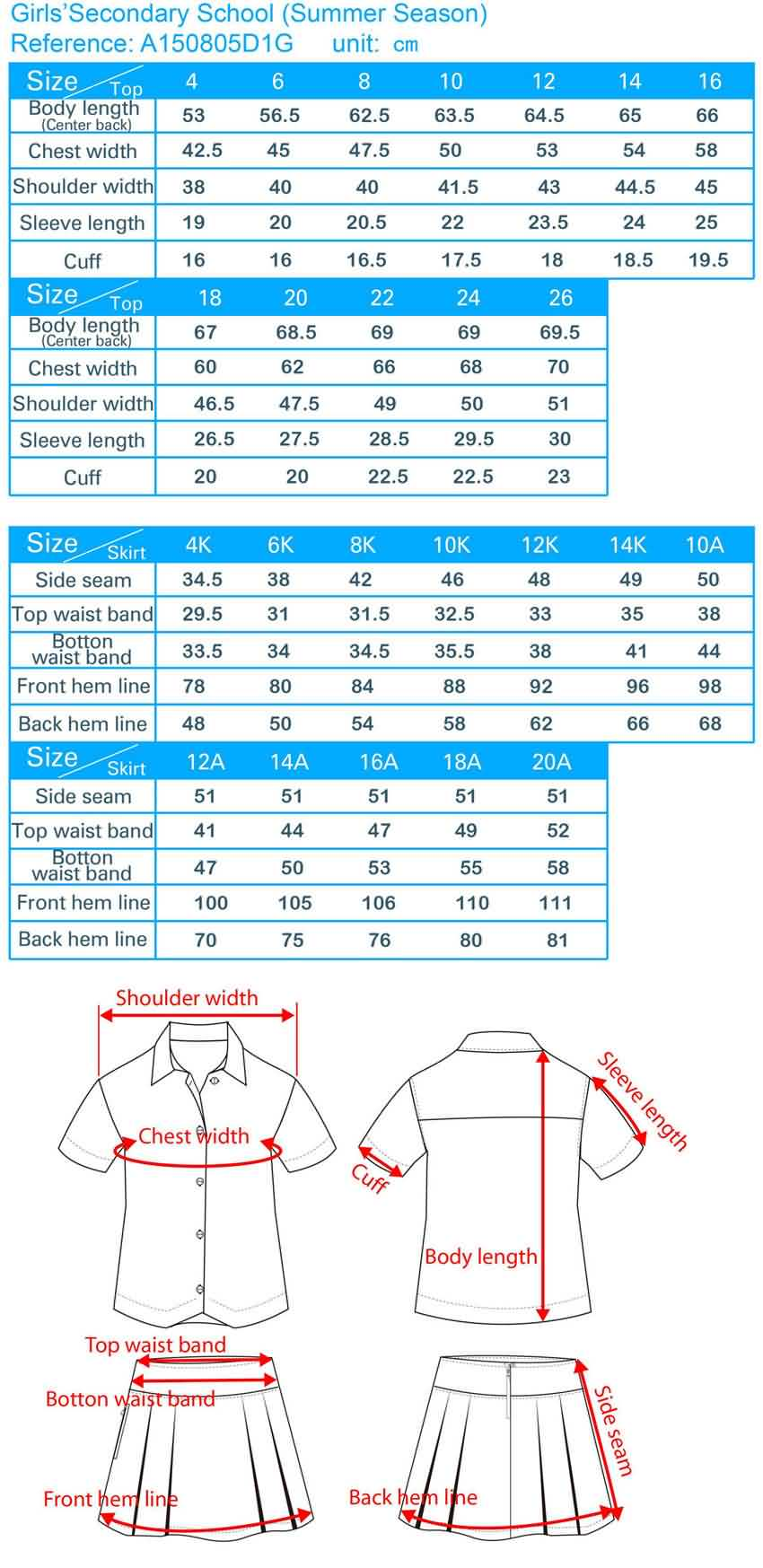 secondary school uniform size chart, schoolwear sizing guide